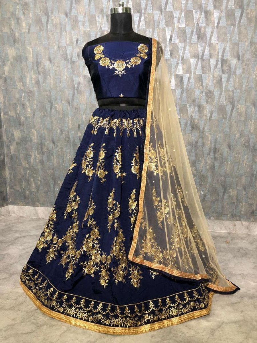 Navy Blue Embroidered Taffeta Wedding Wear Lehenga Choli With Cream Dupatta