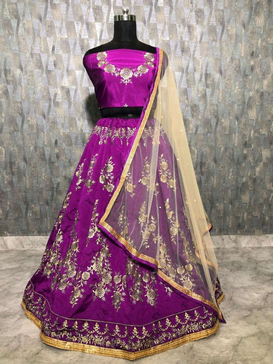 Purple Embroidered Taffeta Wedding Wear Lehenga Choli With Cream Dupatta