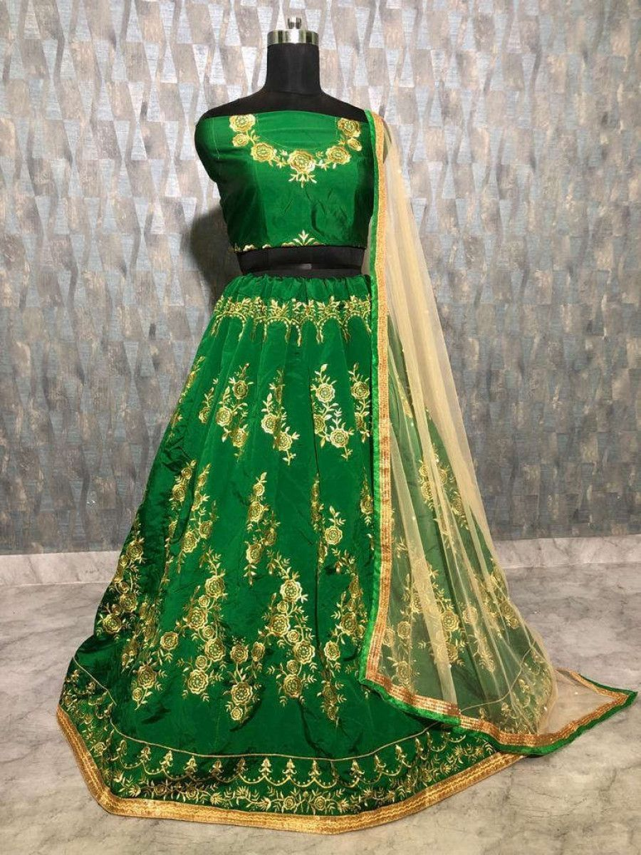 Green Embroidered Taffeta Wedding Wear Lehenga Choli With Cream Dupatta