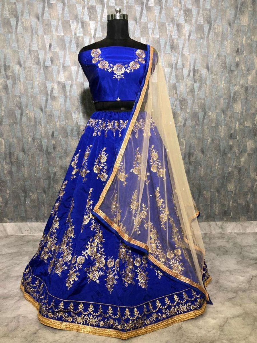 Blue Embroidered Taffeta Wedding Wear Lehenga Choli With Cream Dupatta