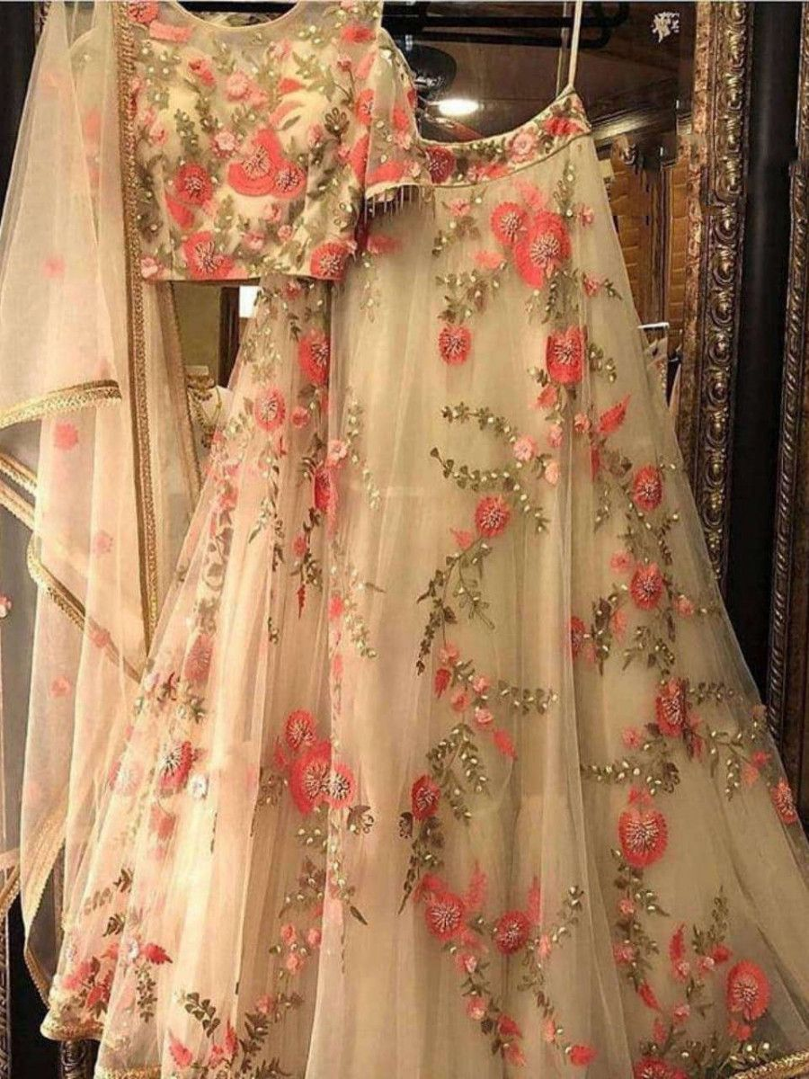 Cream Thread Embroidered Net Party Wear Lehenga Choli With Dupatta