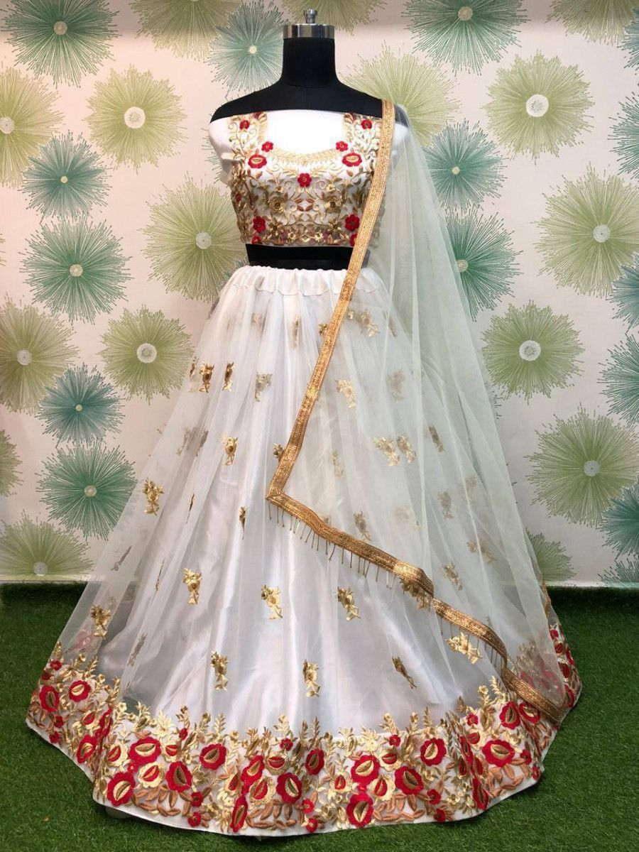 White Floral Embroidered Net Party Wear Lehenga Choli