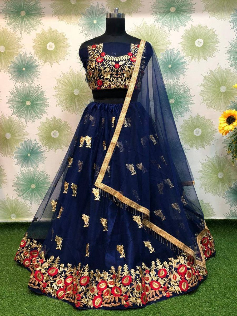 Navy Blue Floral Embroidered Net Party Wear Lehenga Choli