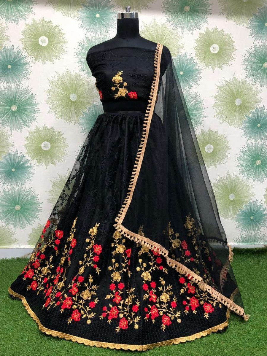 Black Embroidered Net Party Wear Lehenga Choli With Dupatta