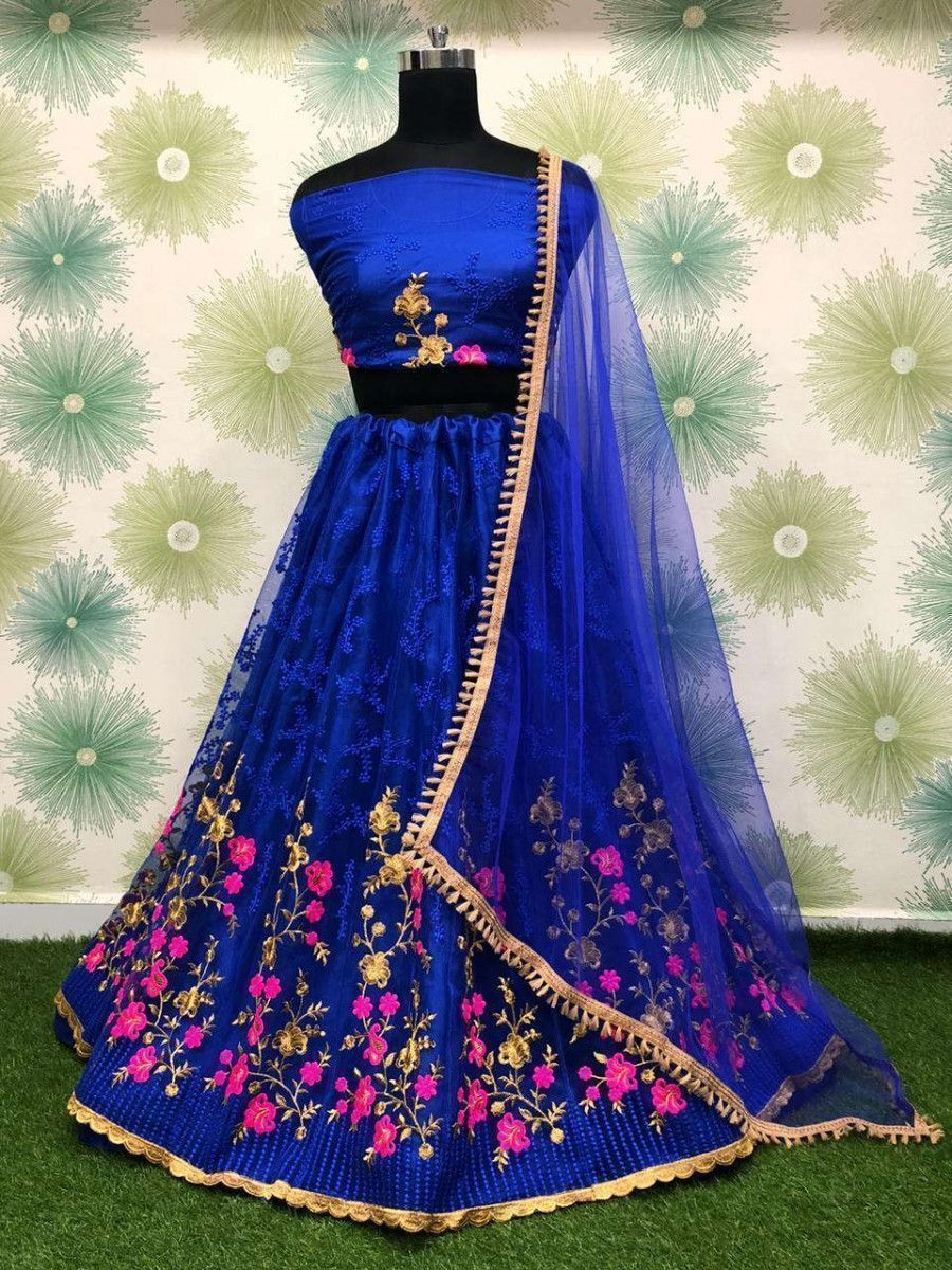 Blue Embroidered Net Party Wear Lehenga Choli With Dupatta