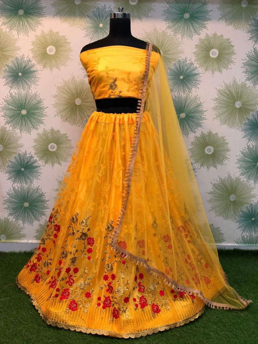 Yellow Embroidered Net Party Wear Lehenga Choli With Dupatta