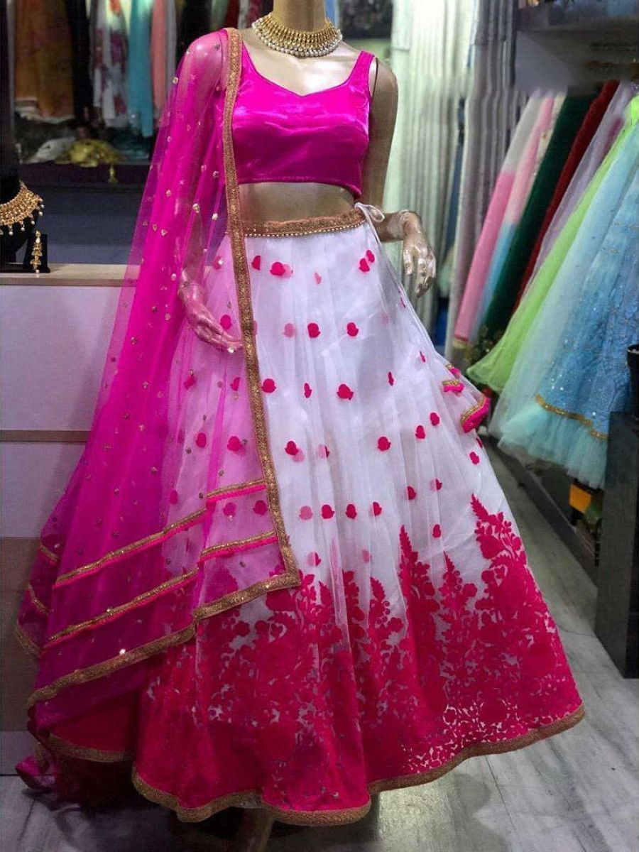 Pink Embroidered Net Festival Wear Lehenga Choli With Dupatta