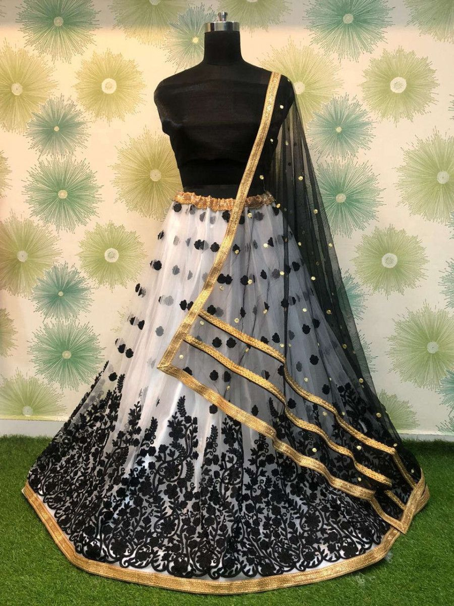 Black Embroidered Net Festival Wear Lehenga Choli With Dupatta