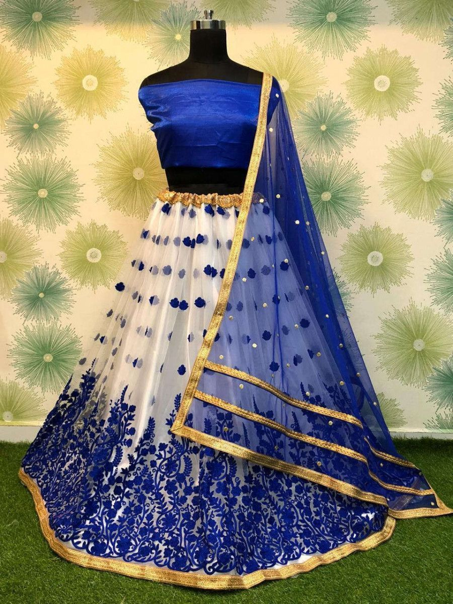 Blue Embroidered Net Festival Wear Lehenga Choli With Dupatta