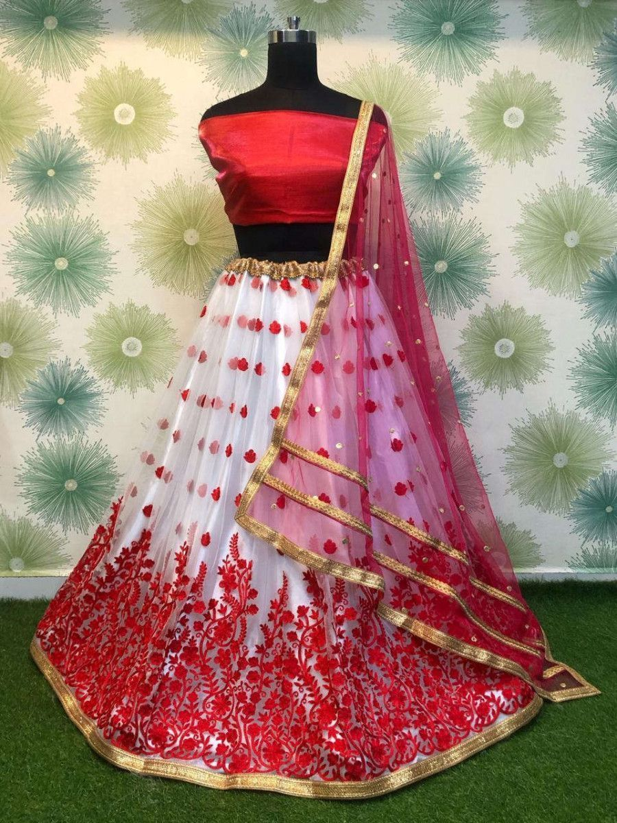 Red Embroidered Net Festival Wear Lehenga Choli With Dupatta