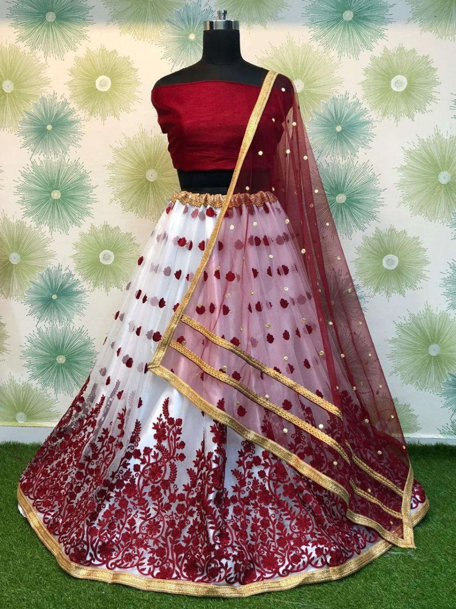 Maroon Embroidered Net Festival Wear Lehenga Choli With Dupatta