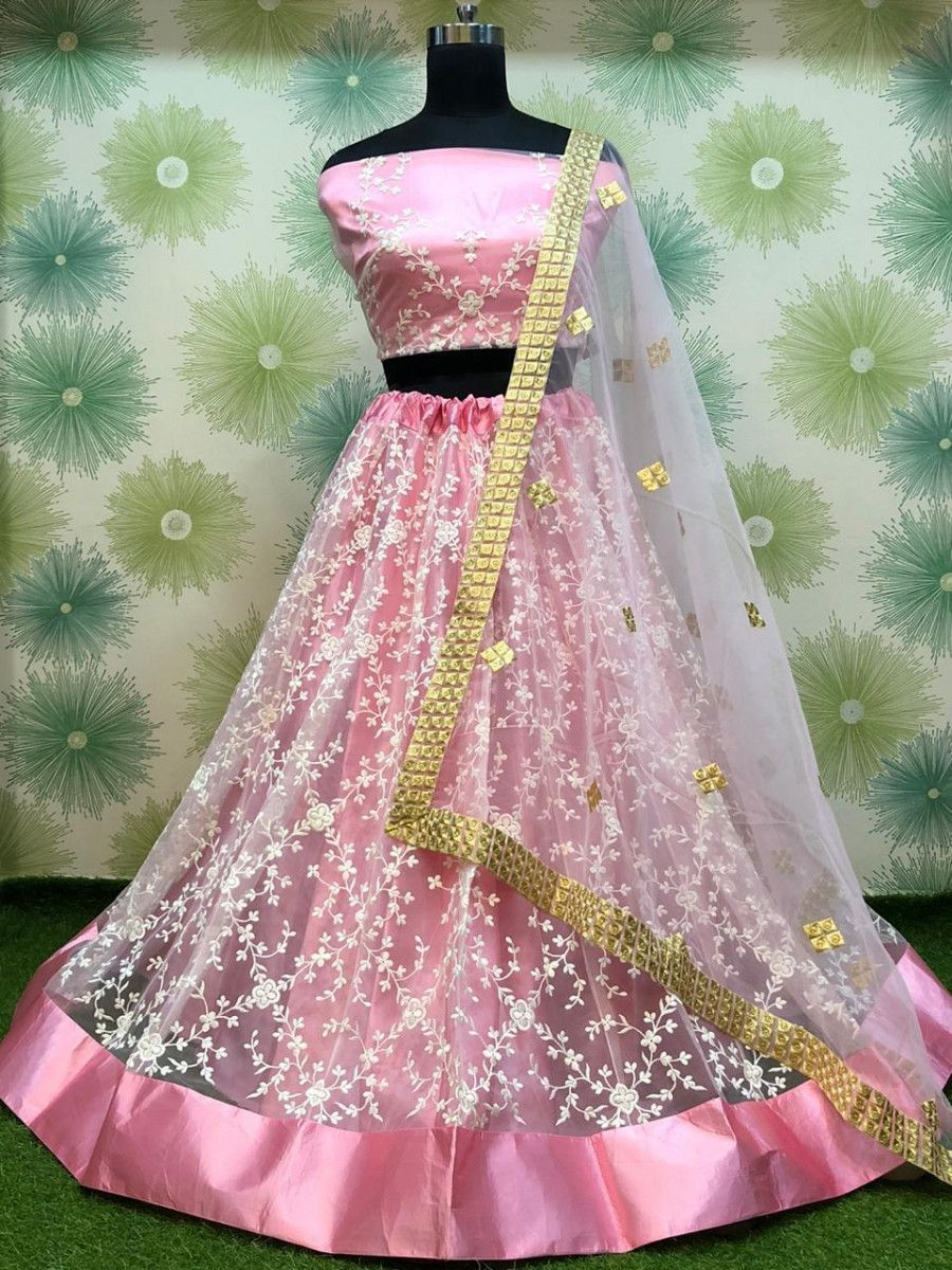 Pink Thread Embroidered Net Festive Wear Lehenga Choli