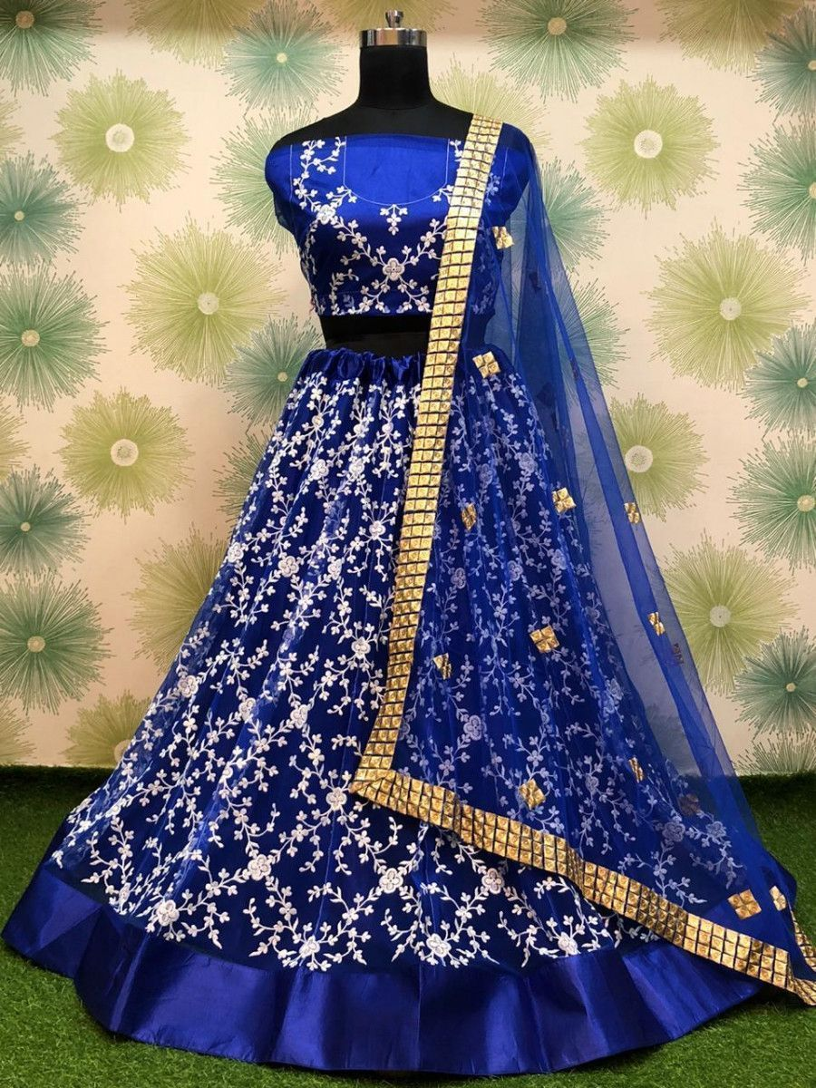 Blue Thread Embroidered Net Festive Wear Lehenga Choli