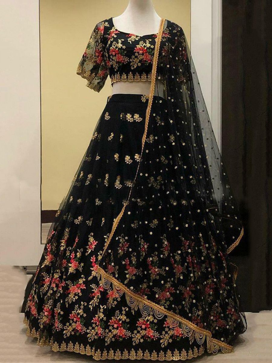 Black Embroidered Heavy Net Wedding Lehenga Choli