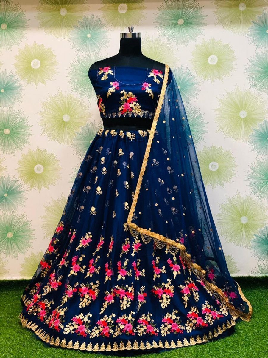 Navy Blue Embroidered Heavy Net Wedding Lehenga Choli