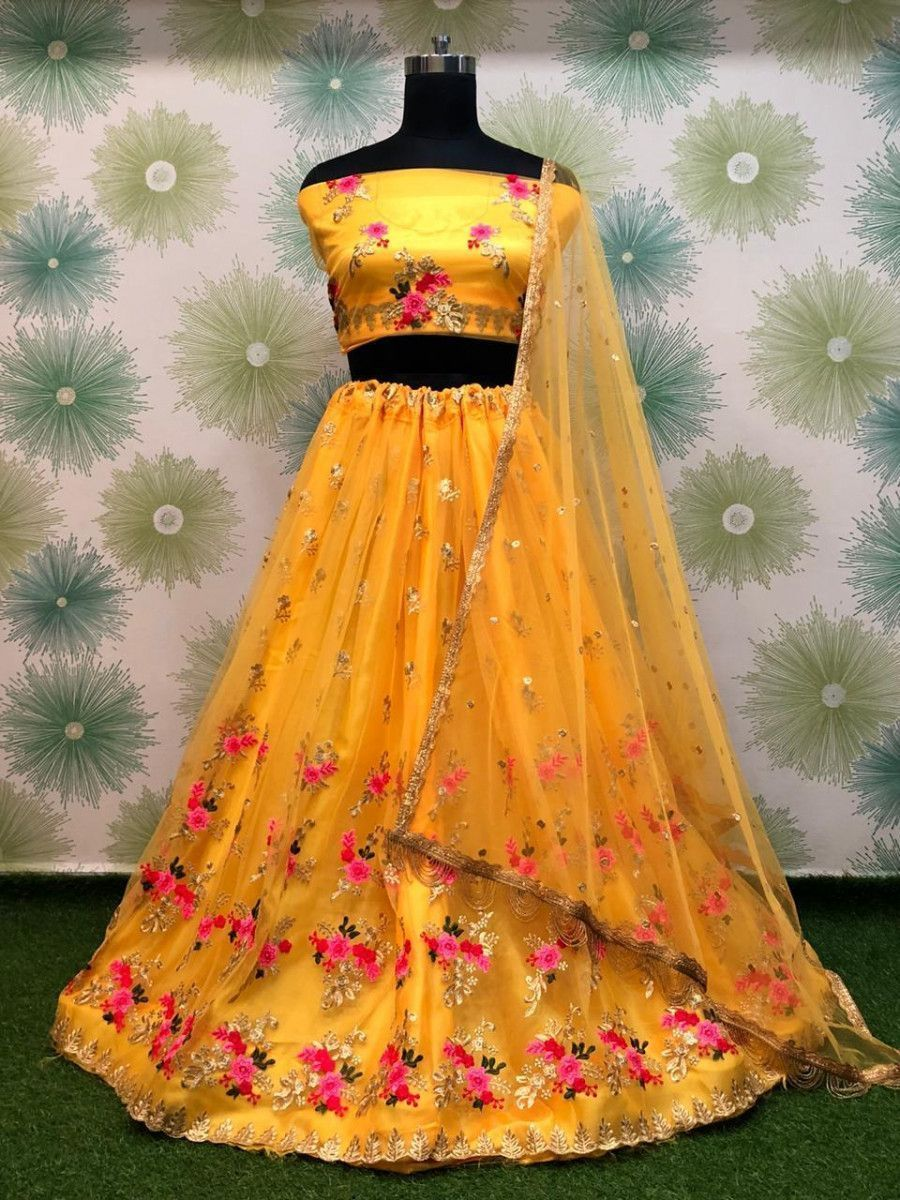 Yellow Embroidered Heavy Net Wedding Lehenga Choli