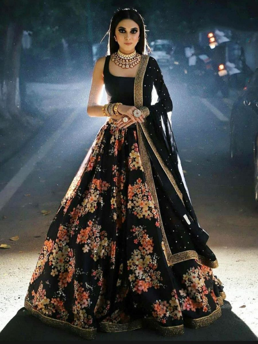 Black Floral Print Silk Party Wear Lehenga Choli