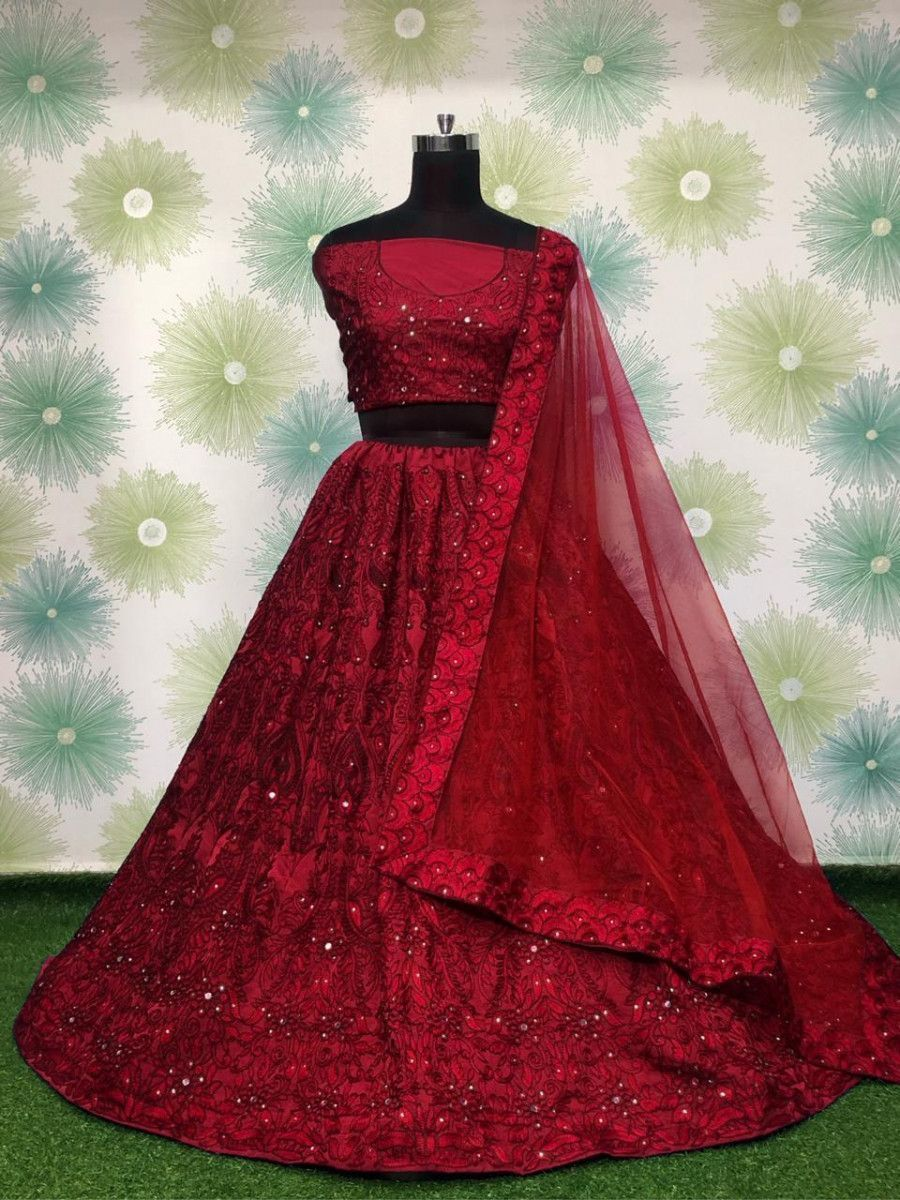 Red Embroidered Monochrome Taffeta Party Wear Lehenga Choli