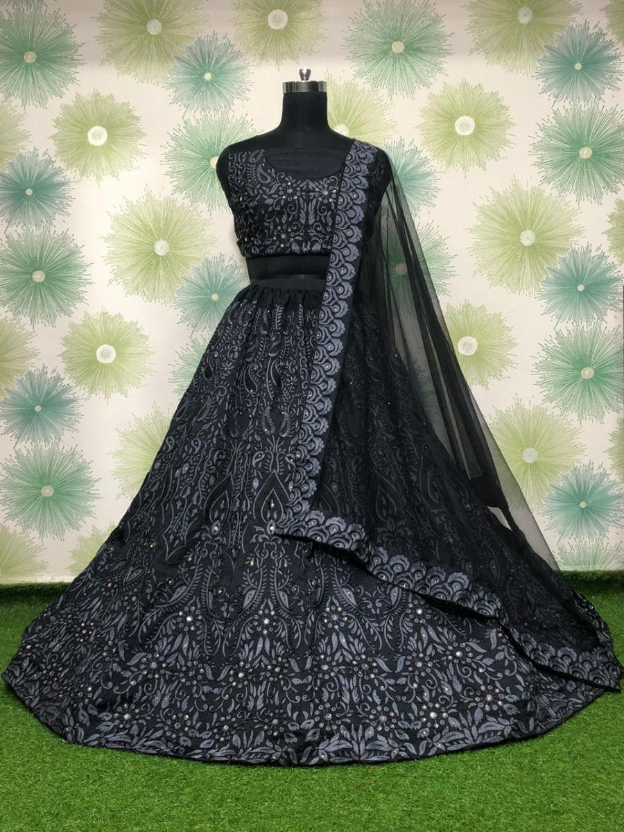 Black Embroidered Monochrome Taffeta Party Wear Lehenga Choli
