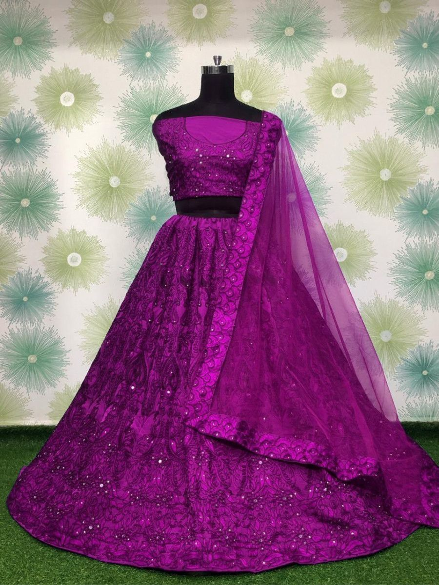 Purple Embroidered Monochrome Taffeta Party Wear Lehenga Choli