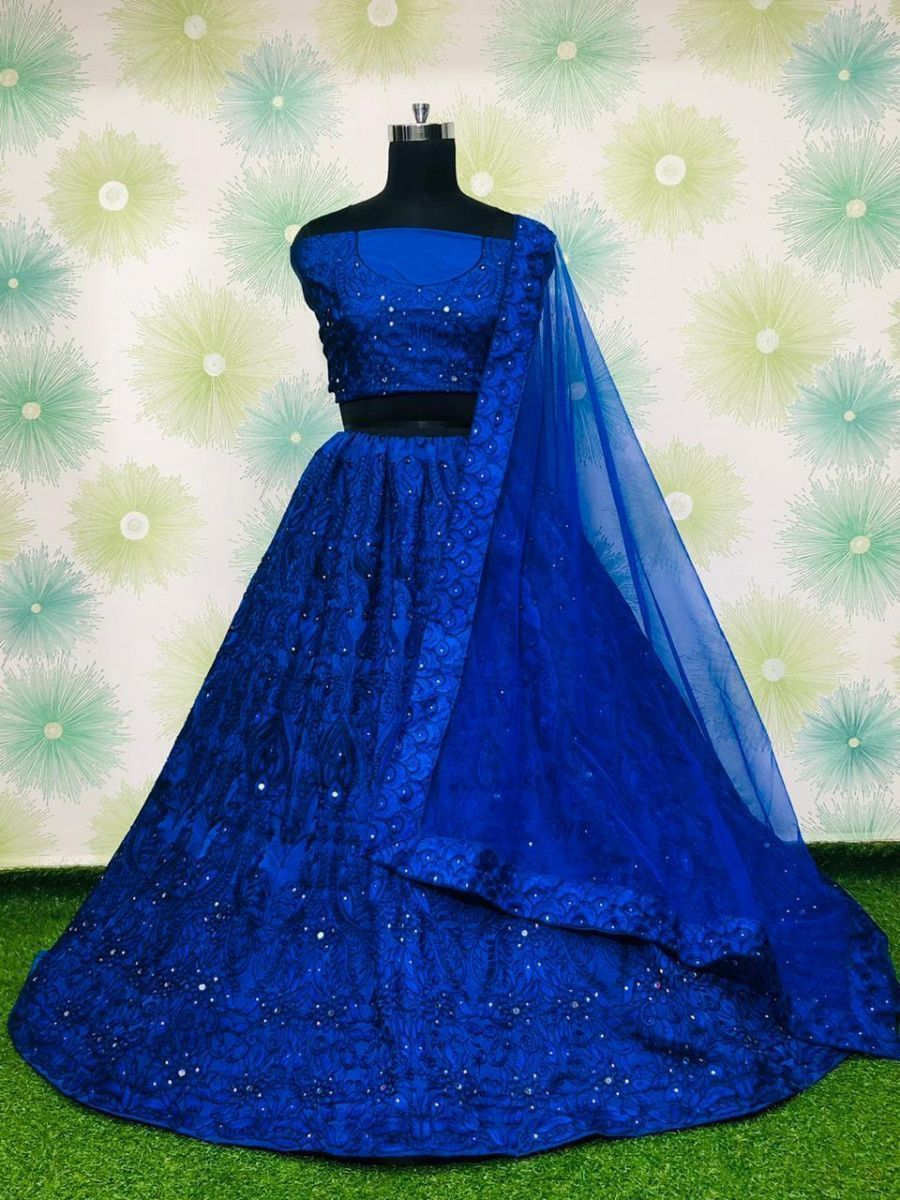 Blue Embroidered Monochrome Taffeta Party Wear Lehenga Choli