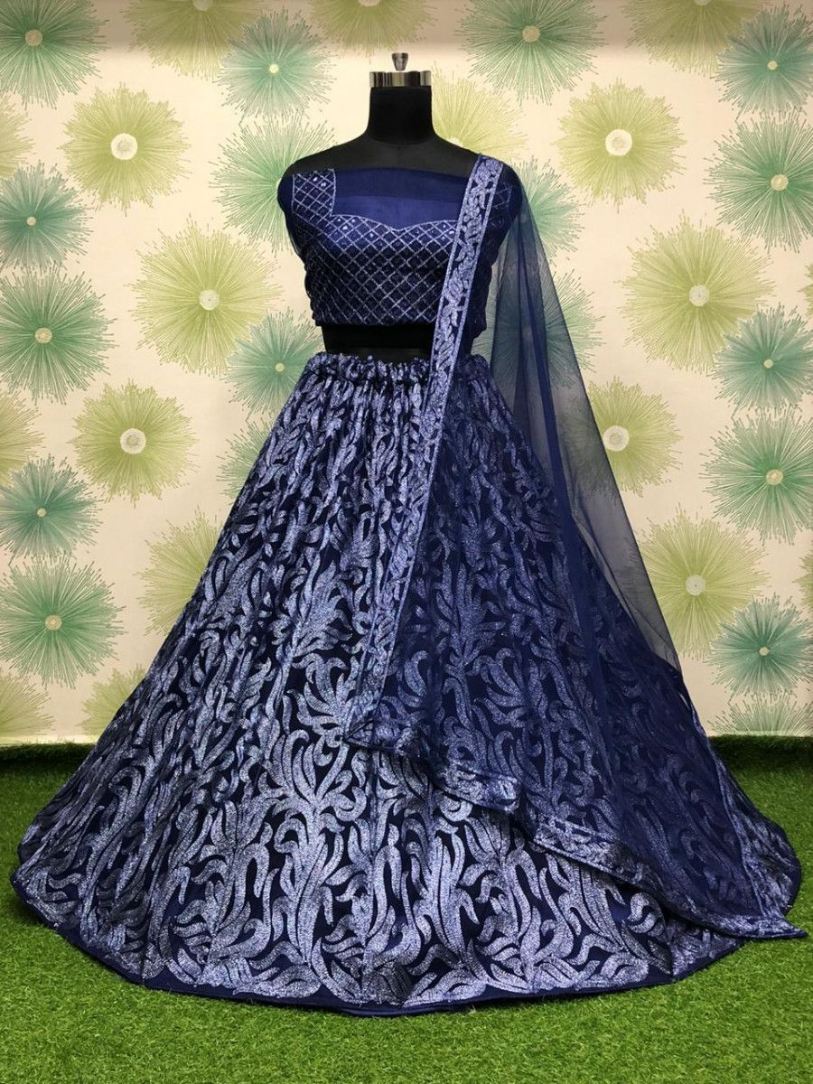 Blue Thread Work Net Party Wear Lehenga Choli With Dupatta