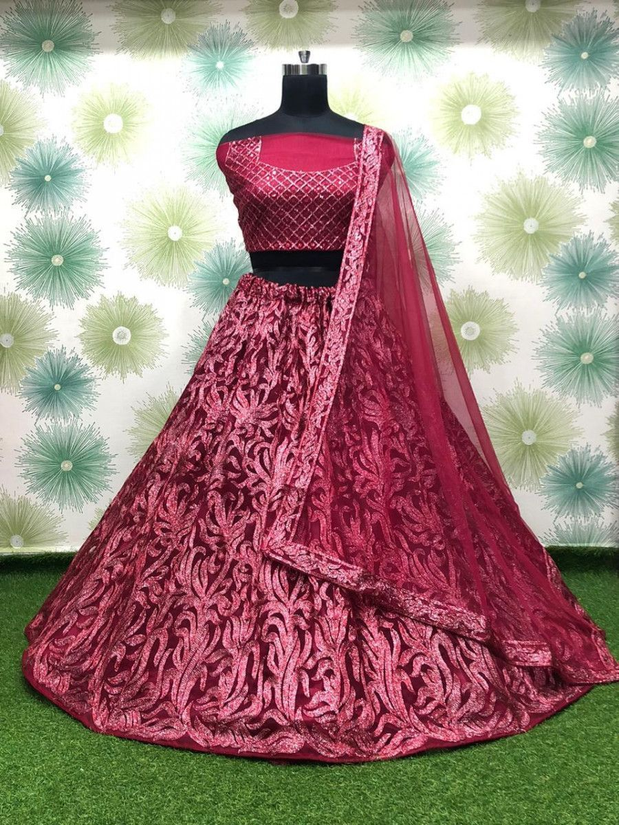Red Thread Work Net Party Wear Lehenga Choli With Dupatta