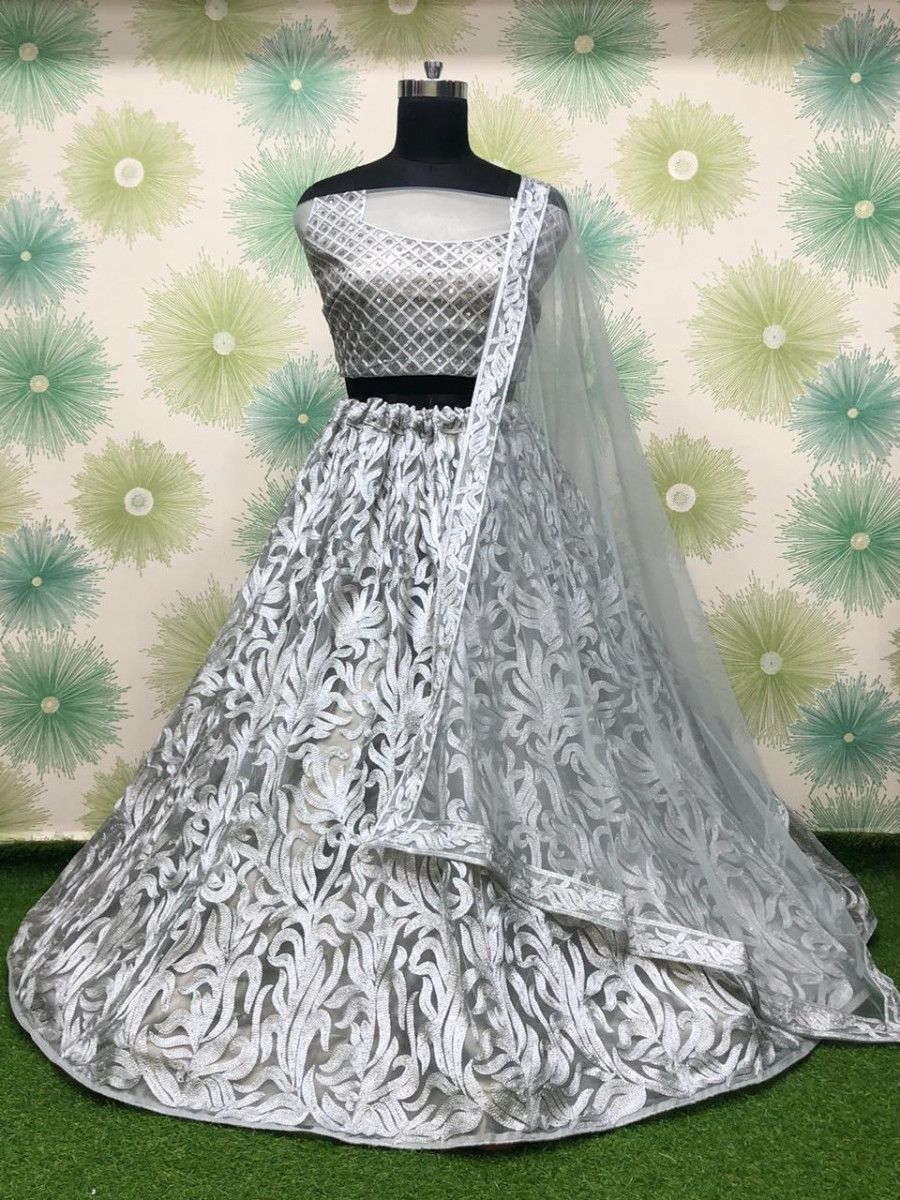 White Thread Work Net Party Wear Lehenga Choli With Dupatta