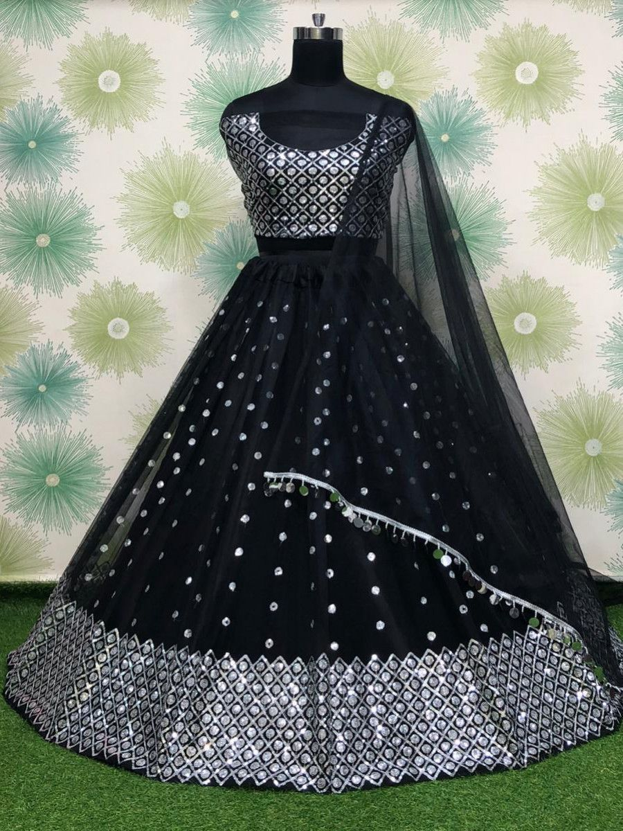 Black Sequins Work Net Party Wear Lehenga Choli