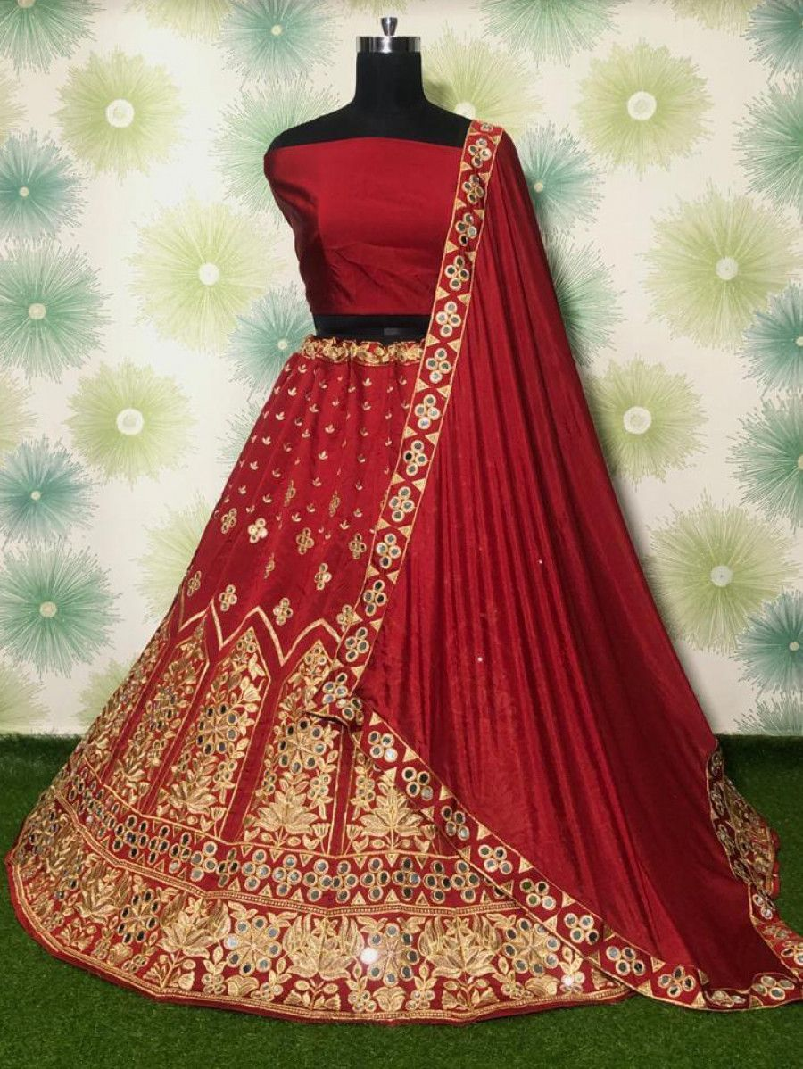 Red Mirror Work Embroidered Taffeta Wedding Wear Lehenga Choli