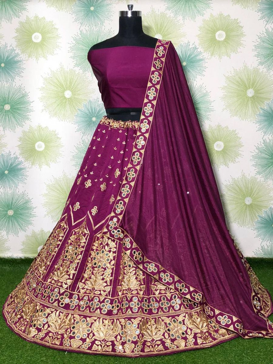 Magenta Mirror Work Embroidered Taffeta Wedding Wear Lehenga Choli