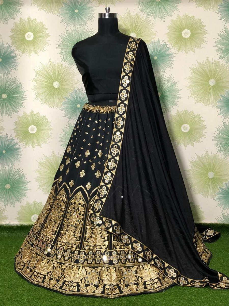 Black Mirror Work Embroidered Taffeta Wedding Wear Lehenga Choli