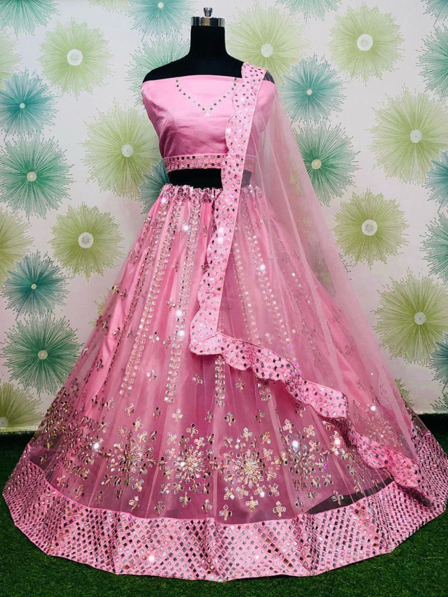 Pink Heavy Mirror Work Net Party Wear Lehenga Choli