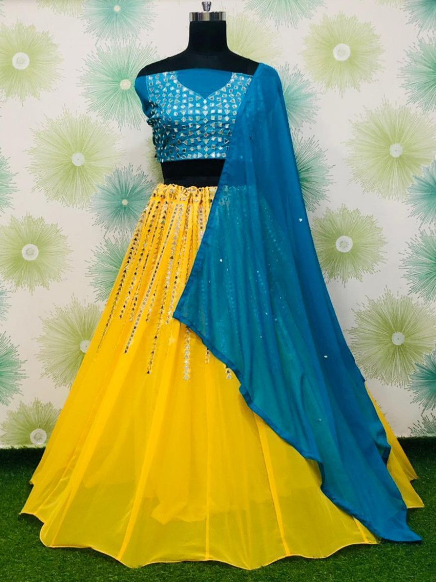 Yellow & Blue Mirror Work Georgette Festive Lehenga Choli