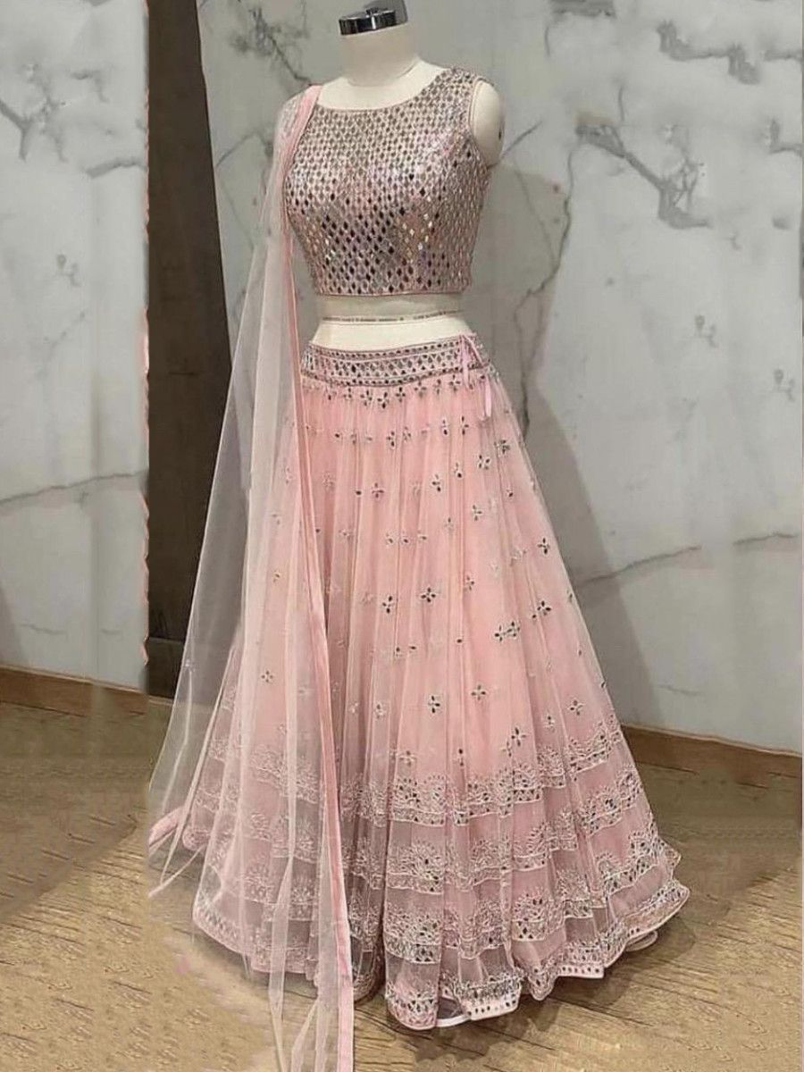 Peach Sequins Work Net Party Wear Lehenga Choli