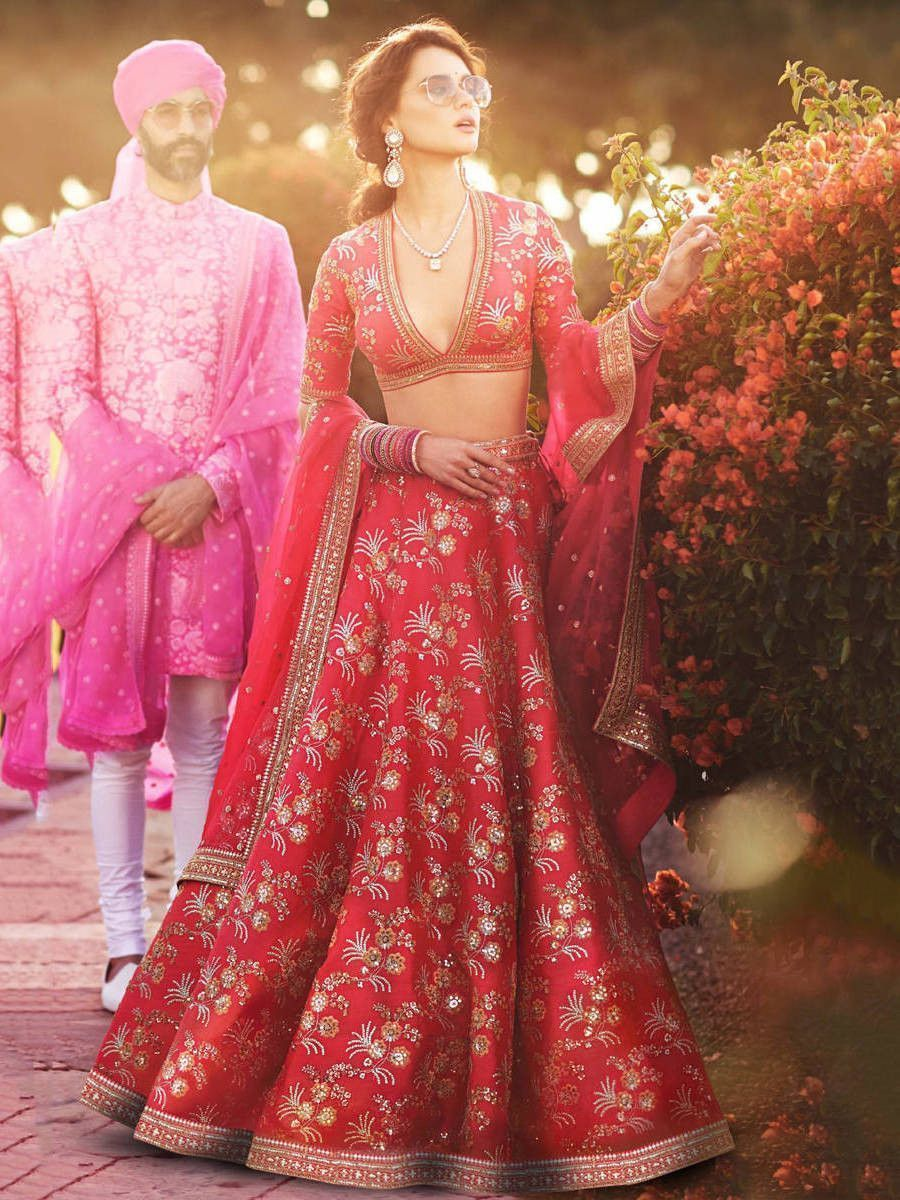 Red Embroidery Thai Silk Bridal Lehenga Choli