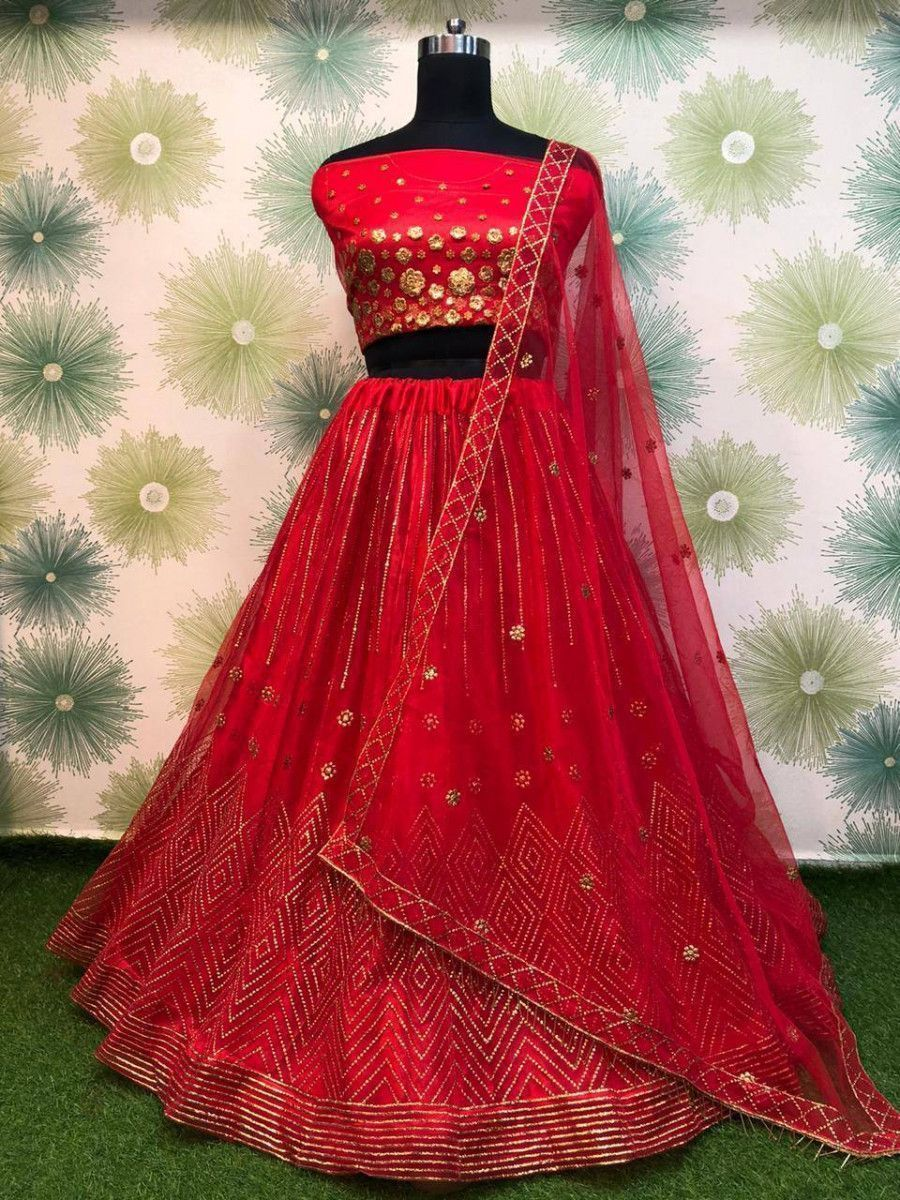 Red Badla Work Net Festive Wear Lehenga Choli