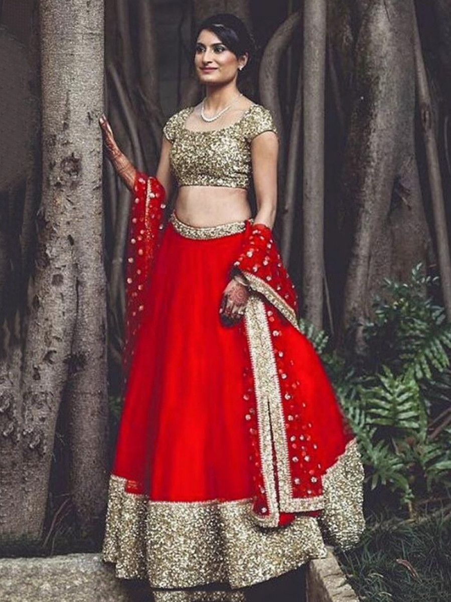 Red Sequins Taffeta Silk Partywear Lehenga Choli