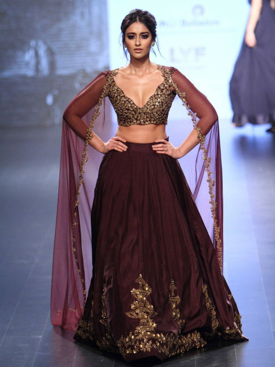 Ileana Embroidered Wine Taffeta Silk Festival Wear Lehenga Choli