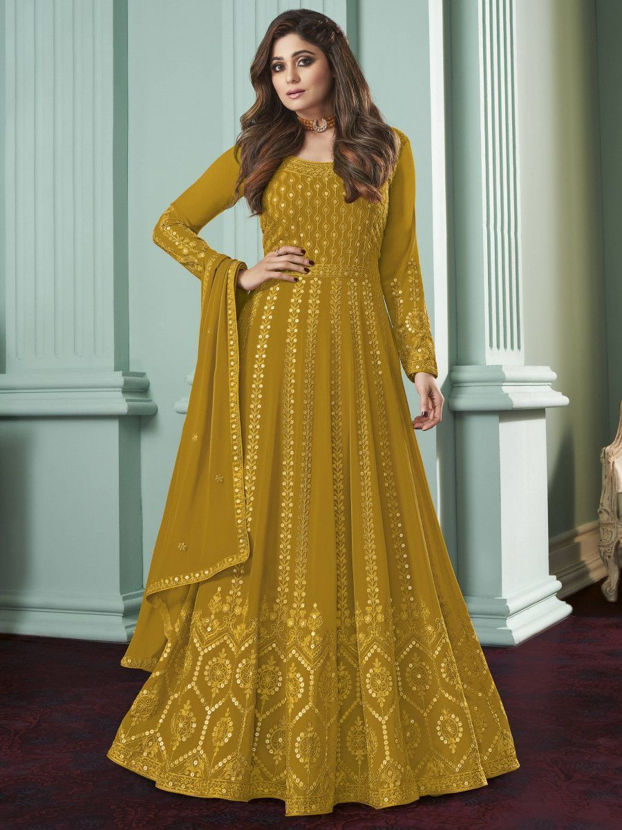 Yellow Thread Embroidered Wedding Wear Readymade Gown