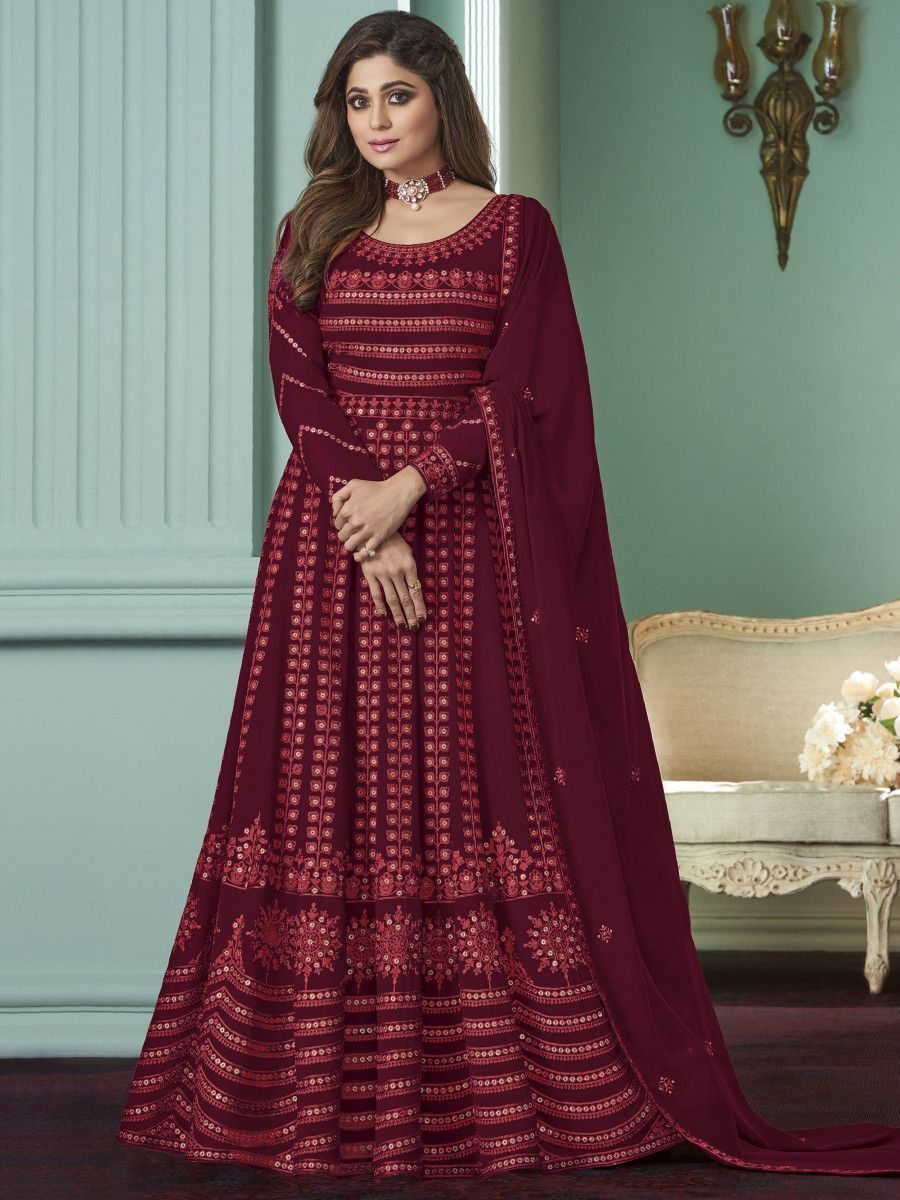Maroon Thread Embroidered Wedding Wear Readymade Gown