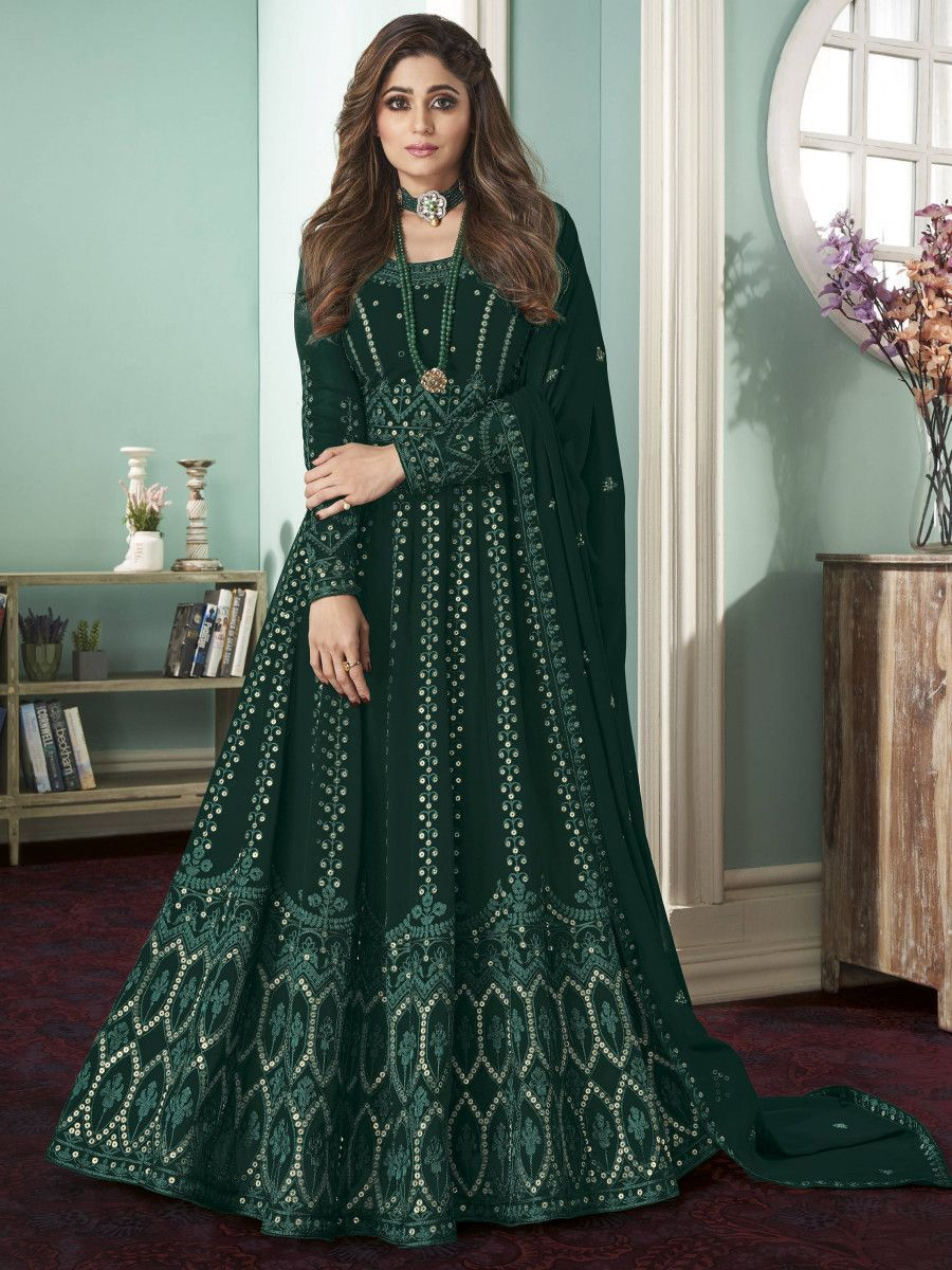 Teal Green Thread Embroidered Wedding Wear Readymade Gown