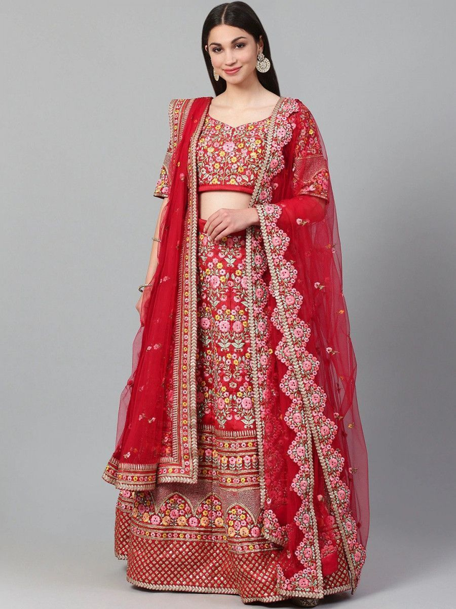 Red & Pink Embroidered Semi-Stitched Myntra Lehenga & Unstitched Blouse with Dupatta