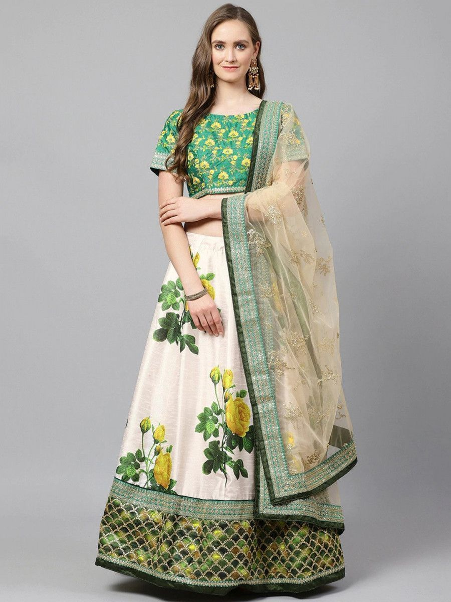 Cream-Coloured & Beige Embroidered Semi-Stitched Myntra Lehenga & Unstitched Blouse with Dupatta