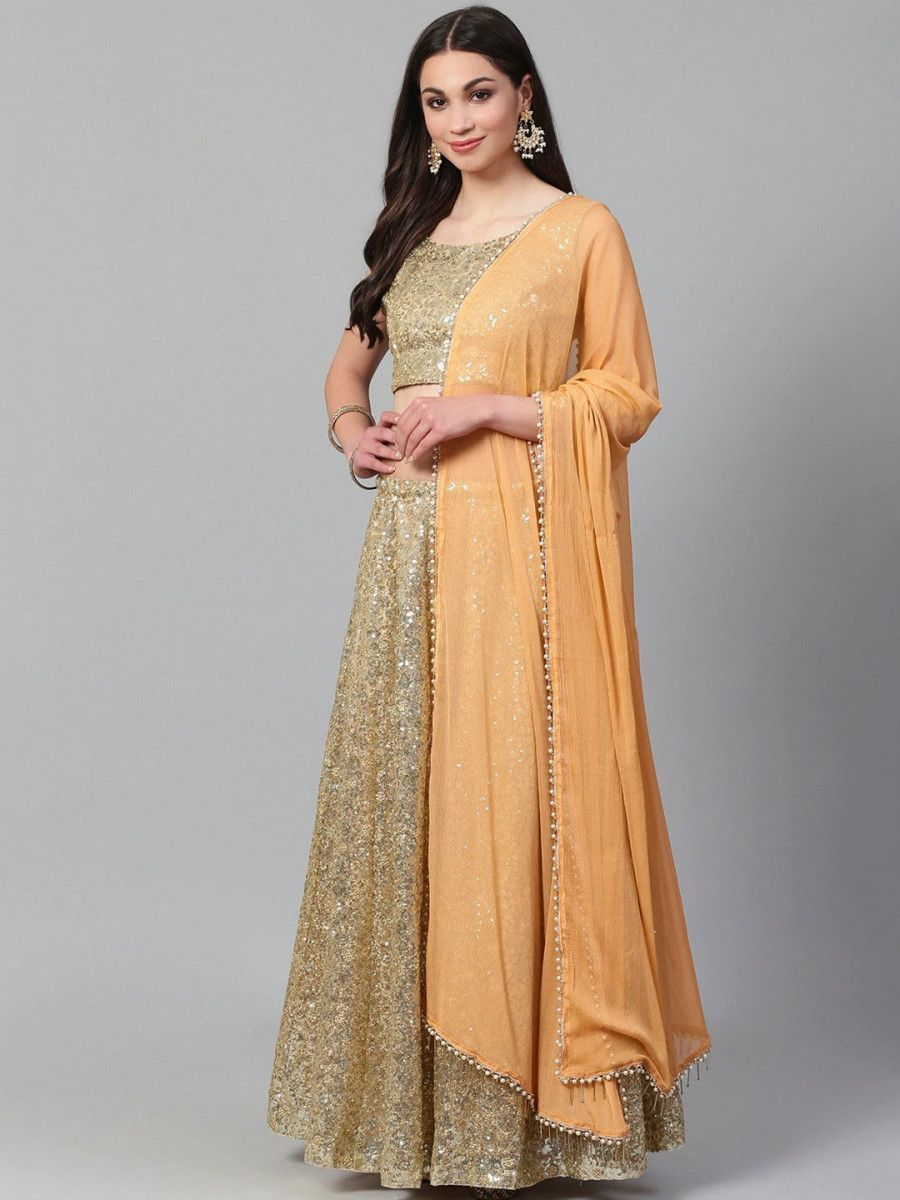 Golden Semi-Stitched Myntra Lehenga & Unstitched Blouse with Dupatta