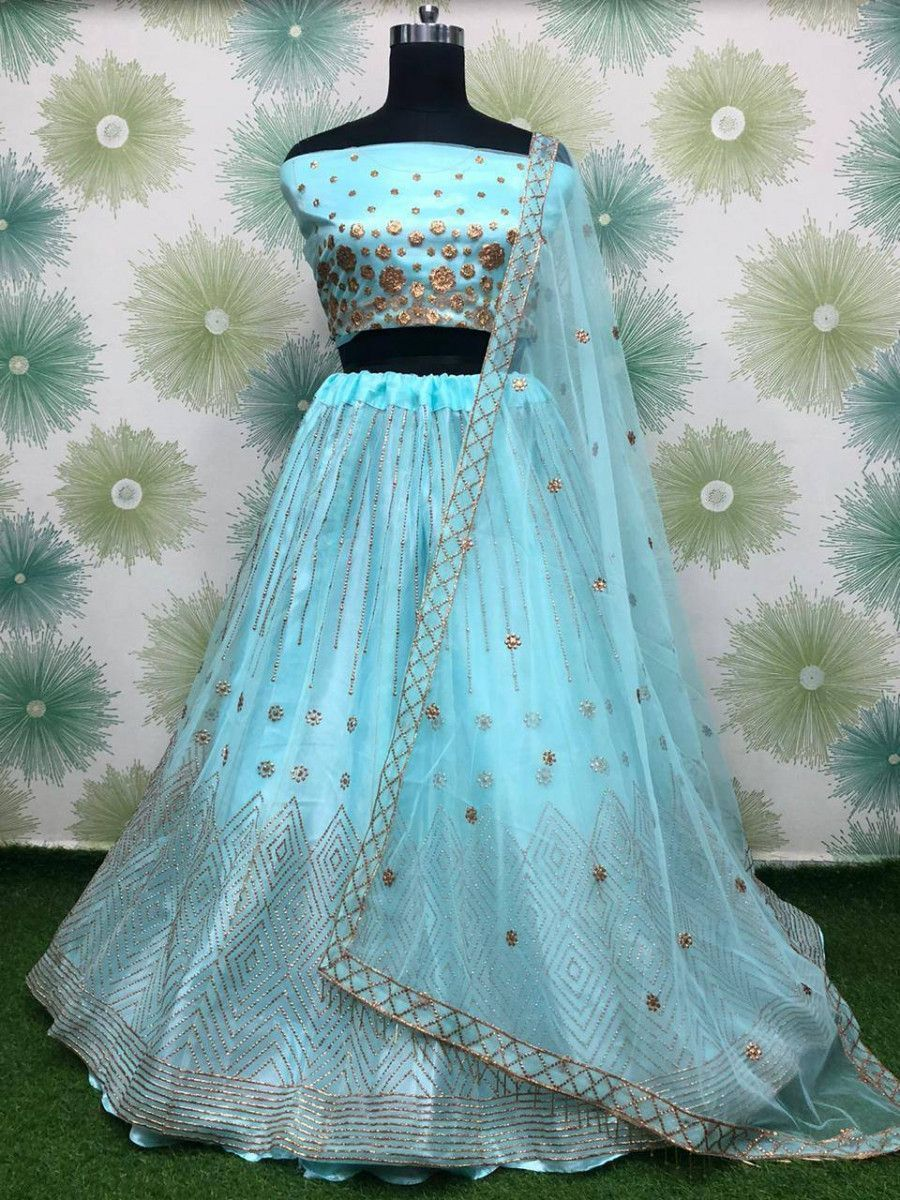 Sky Blue Badla Work Net Festive Wear Lehenga Choli