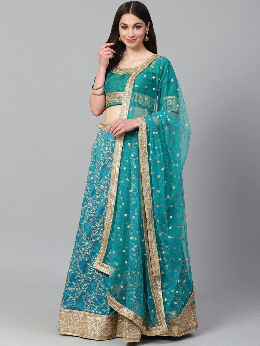 Turquoise Blue Semi-Stitched Myntra Wedding Wear Lehenga & Unstitched Blouse with Dupatta