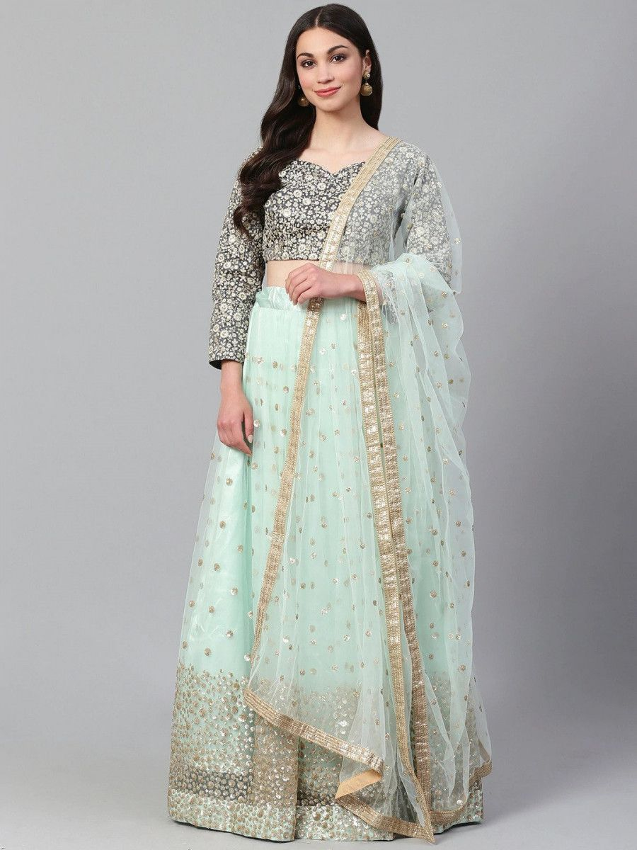 Sea Green & Charcoal Embroidered Semi-Stitched Myntra Lehenga & Unstitched Blouse with Dupatta