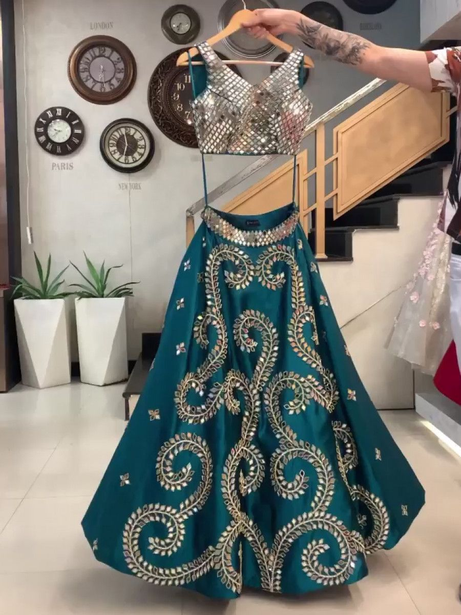 Teal Blue Mirror Work Taffeta Silk Party Lehenga Choli With Dupatta