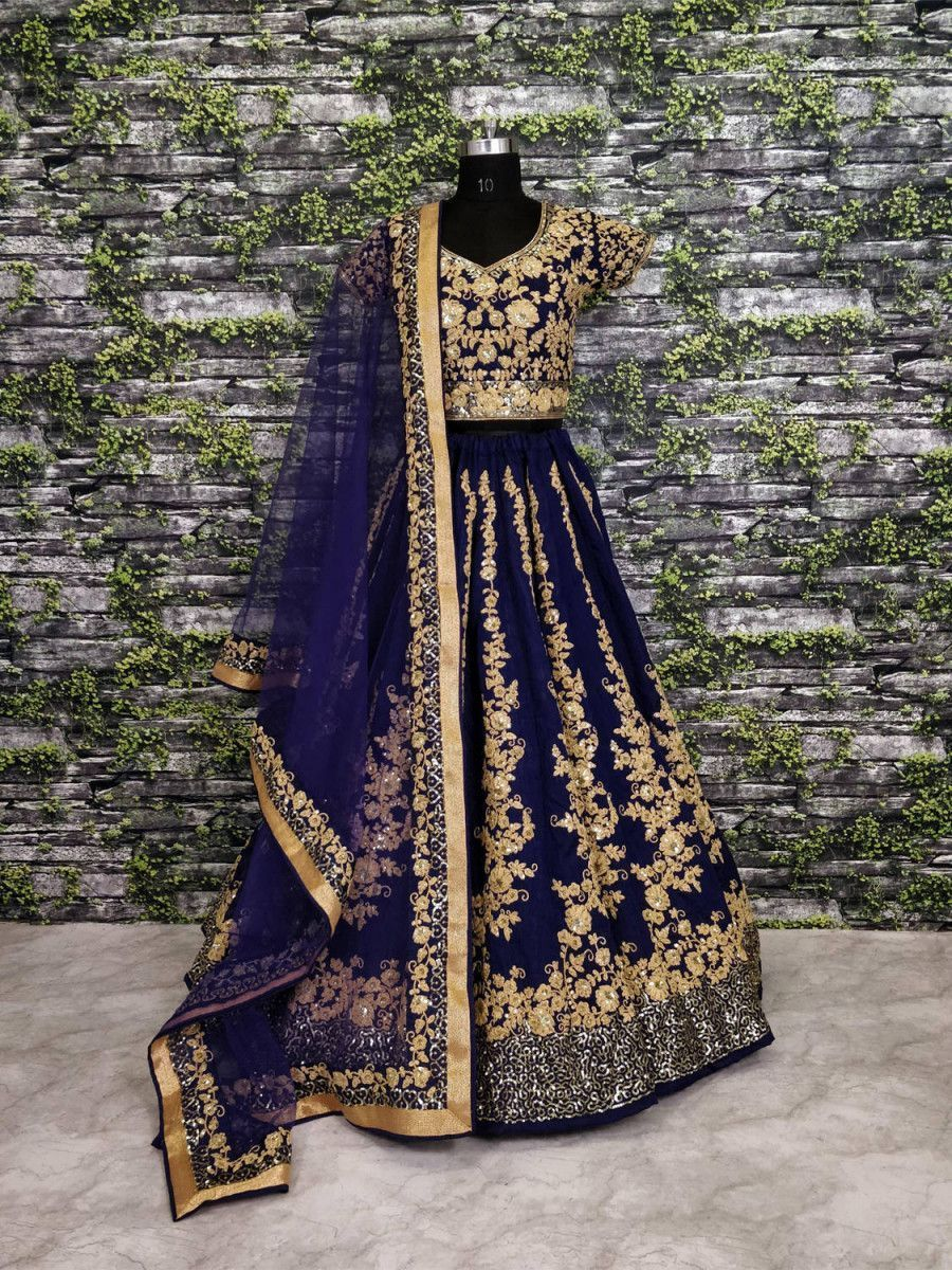 Navy Blue Applique Embroidery Silk Wedding Lehenga Choli